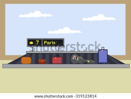 luggage carousel / baggage in airport - stock vector