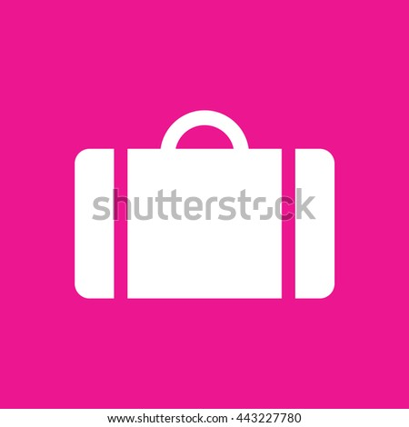 Luggage icon vector. Pink background