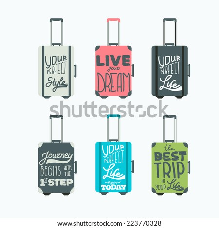 luggage icons. Vector set - stock vector