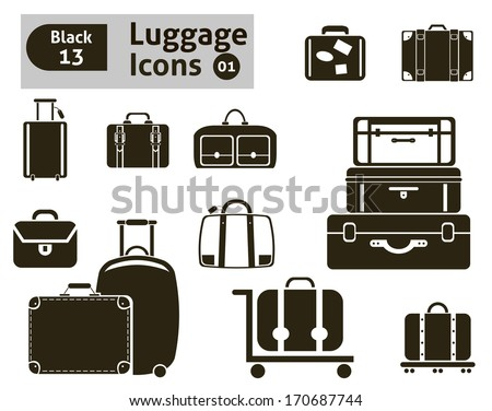 luggage icons. Vector set for your design - stock vector