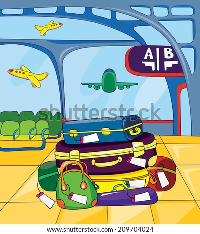 luggage in an airport lounge, vector illustration on white background? - stock vector