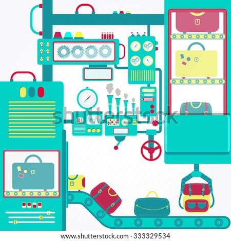 Luggage machine. Huge machine with conveyors carrying luggage. Luggage Carousel. - stock vector
