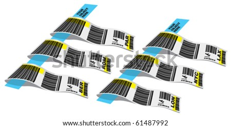 luggage sticker 3 - stock vector