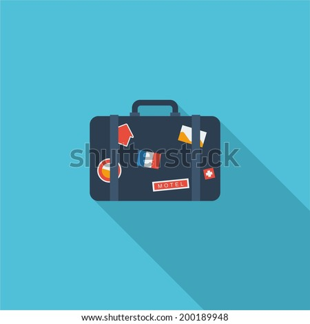Luggage symbol. Vector illustration of flat color icon with long shadow.   - stock vector