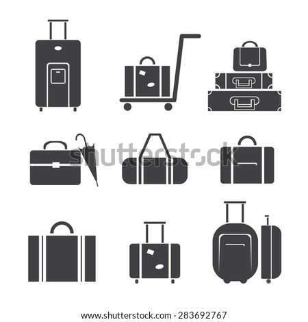 Luggage travel vector icon set isolated on white background