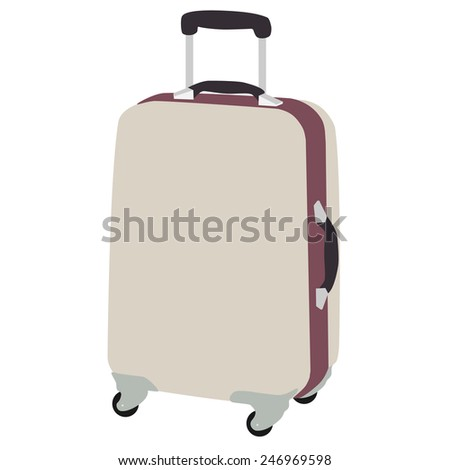 Luggage wheeled vector icon isolated, travel baggage, vacation case with wheels - stock vector