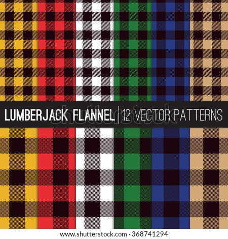 Lumberjack Buffalo Check Plaid Patterns in 6 Classic Men's Flannel Shirt Colors. Trendy Hipster Style Backgrounds. Vector EPS File's Pattern Tile Swatches made with Global Colors. - stock vector