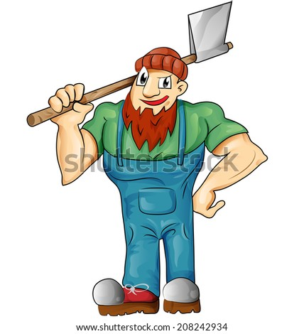 lumberjack cartoon isolated on white background