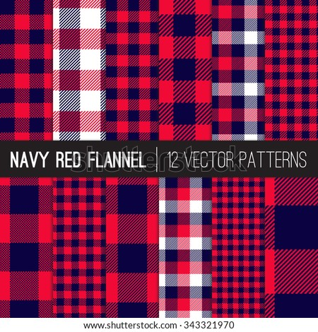 Lumberjack Flannel Plaid Vector Patterns in Navy Blue and Red Buffalo Check and Gingham. Trendy Hipster Style Backgrounds. Vector EPS File's Pattern Tile Swatches made with Global Colors. - stock vector