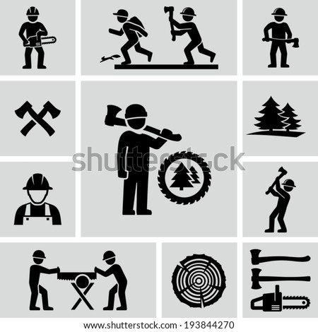 Lumberjack icons set - stock vector