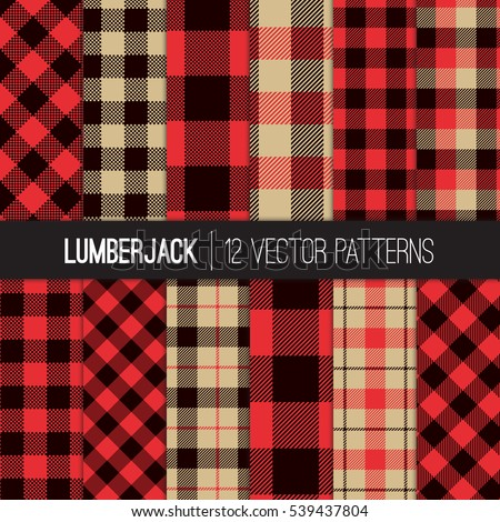 lumberjack patterns red black camel beige stock vector 539437804