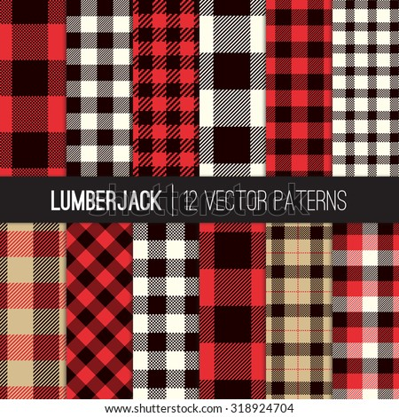 Lumberjack Plaid and Buffalo Check Patterns. Red, Black, White and Khaki Plaid, Tartan and Gingham Patterns. Trendy Hipster Style Backgrounds. Vector EPS File Pattern Swatches made with Global Colors. - stock vector