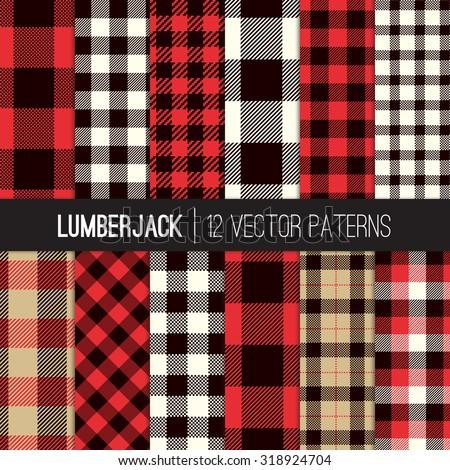 lumberjack plaid buffalo check patterns red stock vector 318924704