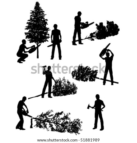 Lumberjack vector set with different tools