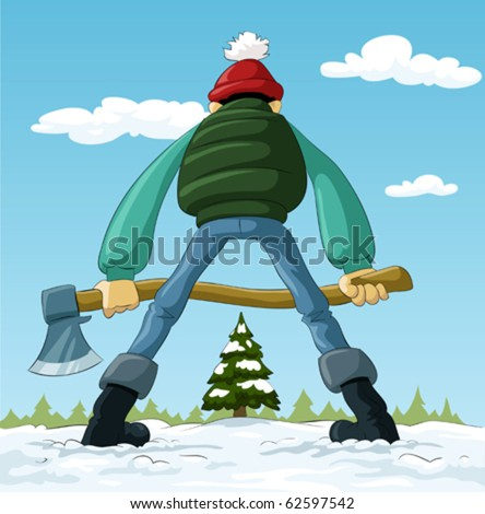 Lumberjack with an ax and a Christmas tree, vector