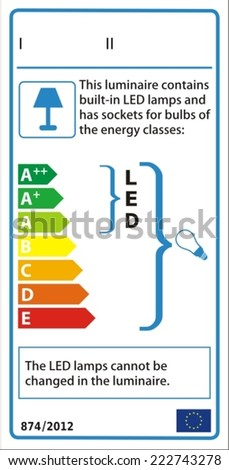 Luminaire new energy rating graph label in vector. - stock vector