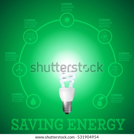 Luminous bulb on green Luminous background surrounded with energy resources logos-solar panel,fusion power,solar electricity,wind turbine,hydro energy,smoking chimney,power line.Saving energy concept