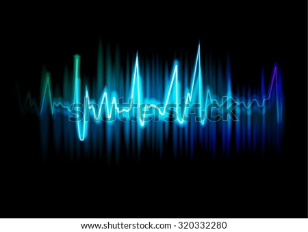 luminous sound wave, abstract  background - stock vector