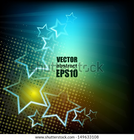 Luminous stars. 3d bright abstract background - Vector illustration for you presentation. EPS10. - stock vector