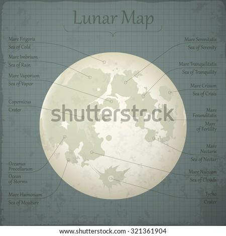 Lunar map. Vector. - stock vector