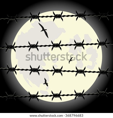 lunar sky through the barbed wire. vector illustration