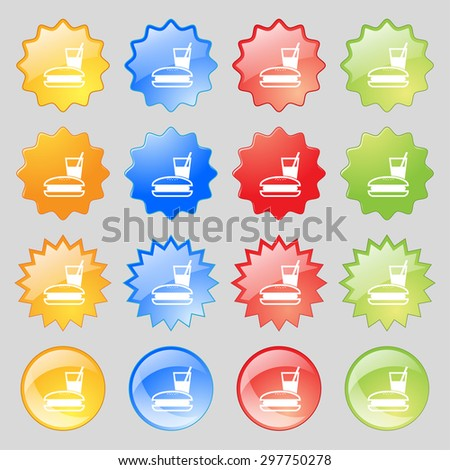 lunch box icon sign. Big set of 16 colorful modern buttons for your design. Vector illustration - stock vector