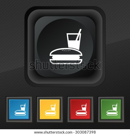 lunch box icon symbol. Set of five colorful, stylish buttons on black texture for your design. Vector illustration - stock vector