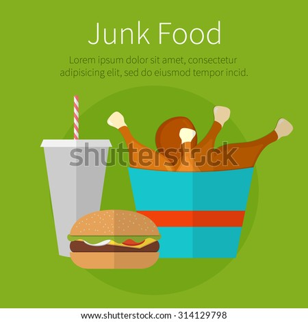 Lunch chicken bucket, burger and soda takeaway. Fast food. Junk food. Flat design. Fizzy drink, hot dog, cheeseburger, hamburger and other restaurant menu elements. Vector poster of unhealthy food