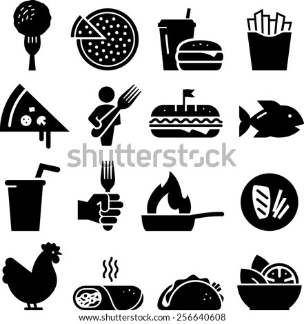 Lunch icon set. Vector icons for digital and print projects. - stock vector
