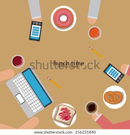 lunch time design over, ligth brown background, vector illustration. - stock vector