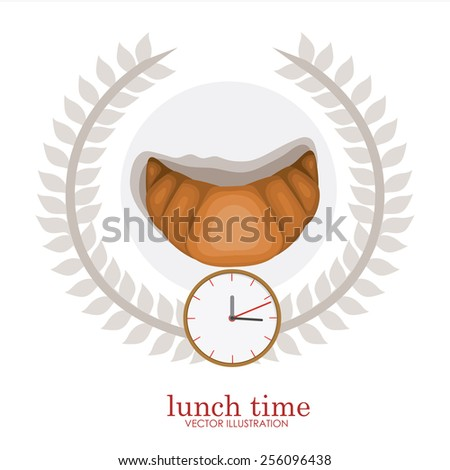 lunch time desing over, white backgrund, vector illustration. - stock vector
