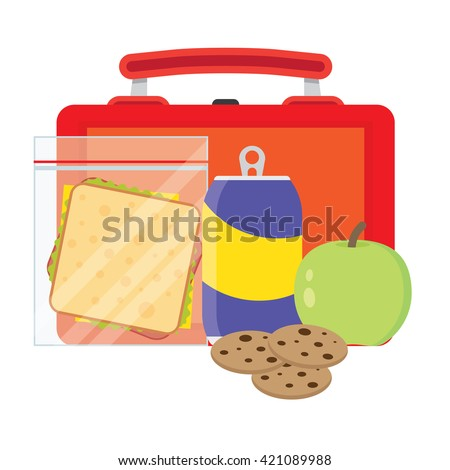 Lunch vector illustration. Lunch break concept. Lunch time design. Lunch box, sandwich, soda and an apple. Lunch icon in flat style. Lunch school. Lunch kids image. - stock vector