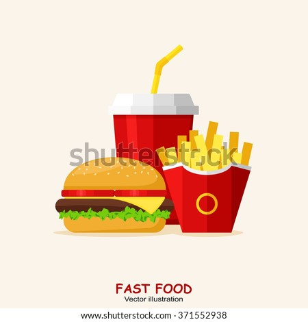 Lunch with Hamburger, French Fries and Soda isolated on background. Group of Fast Food products. Flat design. Vector Illustration