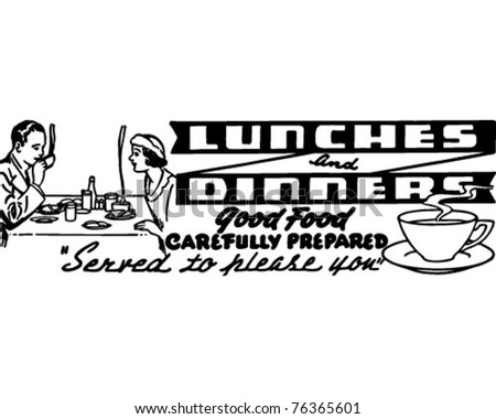 Lunches And Dinners - Retro Ad Art Banner - stock vector