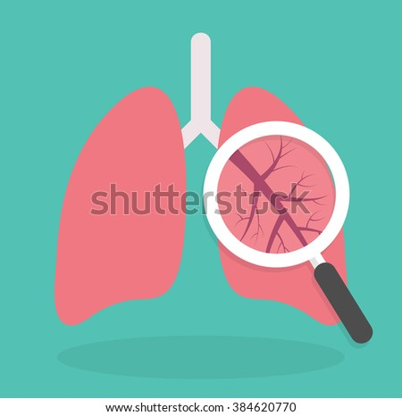 Lung inspection icon. Medical inspection concept. Magnifying glass on lungs. Flat design - stock vector