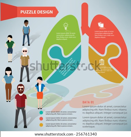 Lung puzzle info graphic design and character,clean vector - stock vector