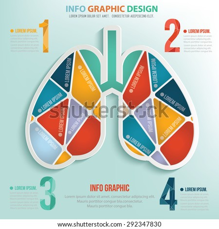 Lung puzzle info graphic design,clean vector - stock vector