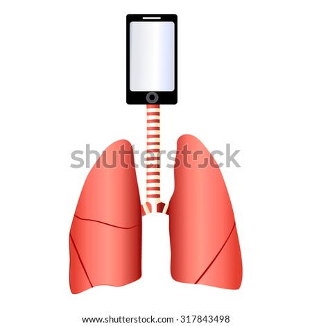 lungs connected with a mobile phone - stock vector
