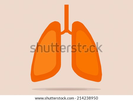 Lungs flat icon with reflect shadow vector illustration