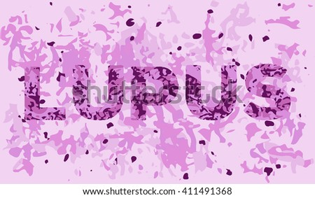 Lupus banner template with the appearance of the diseased tissue in the microscope. Vector illustration of illness awareness and treatment  - stock vector