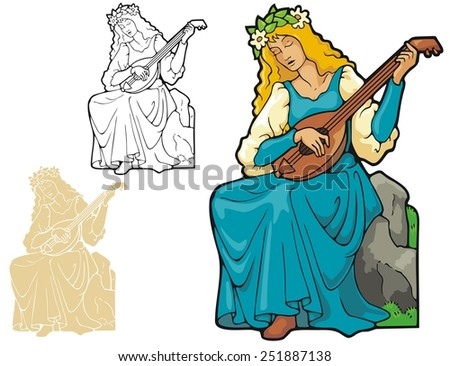 Lute player - stock vector