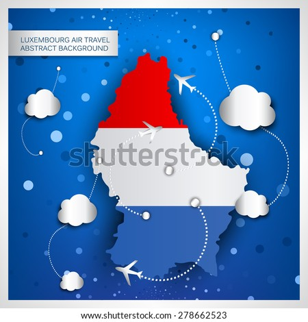 Luxembourg air travel abstract background. Vector illustration.