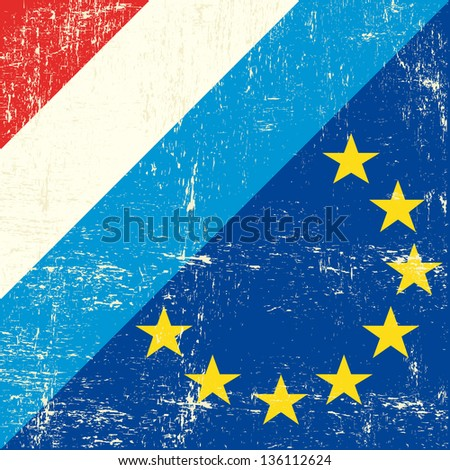 Luxembourg and european grunge Flag. flag of european union members