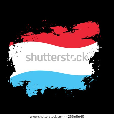 Luxembourg flag grunge style on black background. Brush strokes and ink splatter. National symbol of Luxembourgen State - stock vector