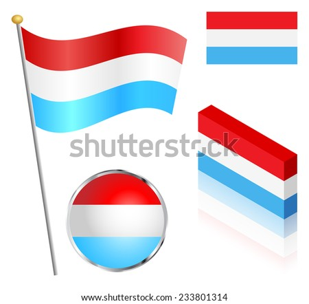Luxembourg flag on a pole, badge and isometric designs vector illustration.  - stock vector