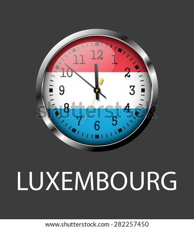 Luxembourg flag on clock face - vector icon