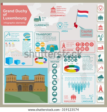 Luxembourg infographics, statistical data, sights. Vector illustration - stock vector