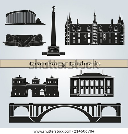 Luxembourg landmarks and monuments isolated on blue background in editable vector file - stock vector