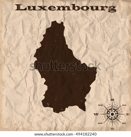Luxembourg old map with grunge and crumpled paper. Vector illustration