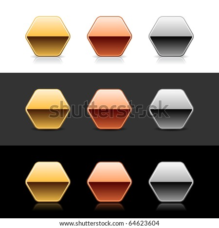 Luxory metal hexagon sign web 2.0 buttons with shadow and reflection on white, gray, and black - stock vector